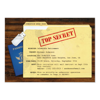 Top Secret Agent Mission Surprise Retirement Party 13 Cm X 18 Cm Invitation Card