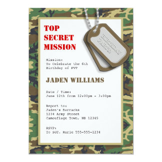 Top Secret Camouflage / Camo Birthday Party 13 Cm X 18 Cm Invitation Card