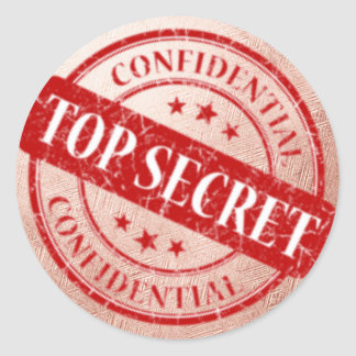 Top Secret Confidential Rose Gold Pink Round Sticker