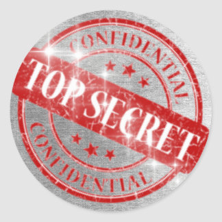 Top Secret Confidential Silver Glitter Classic Round Sticker
