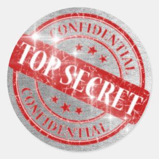Top Secret Confidential Silver Glitter Round Sticker