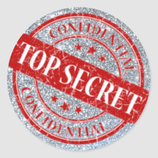 Top Secret Confidential Stamp Silver Glitter Red Classic Round Sticker
