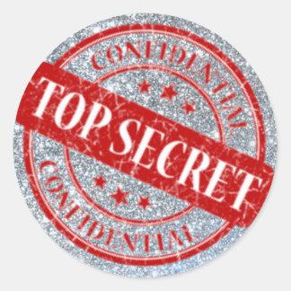 Top Secret Confidential Stamp Silver Glitter Red Round Sticker