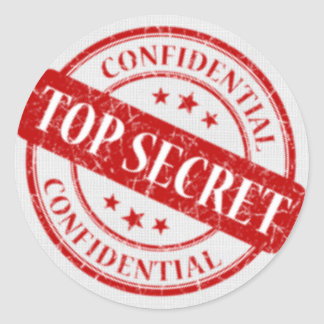 Top Secret Confidential Stamp White Linen Red Classic Round Sticker