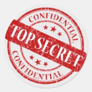 Top Secret Confidential Stamp White Linen Red Round Sticker