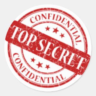 Top Secret Confidential Stamp White Red Classic Round Sticker