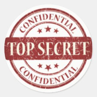 Top Secret Confidential Stamp White Stars Burgundy Round Sticker