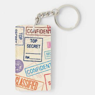 Top Secret - Go Away! Double-Sided Rectangular Acrylic Keychain