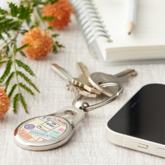 Top Secret - Go Away! Silver-Colored Oval Key Ring