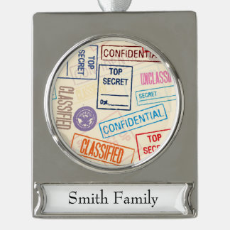Top Secret - Keep Out Silver Plated Banner Ornament