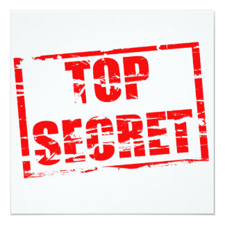 Top secret rubber stamp effect 13 cm x 13 cm square invitation card