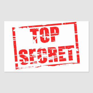 Top secret rubber stamp effect rectangular sticker