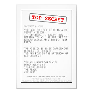 Top Secret Special Agent Spy Surprise Party Card