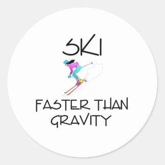 TOP Ski Faster Round Sticker