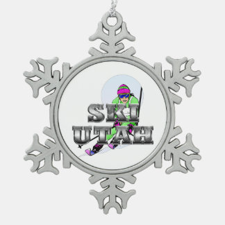 TOP Ski Utah Snowflake Pewter Christmas Ornament