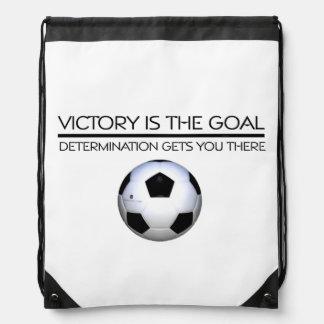 TOP Soccer Victory Slogan Drawstring Bag