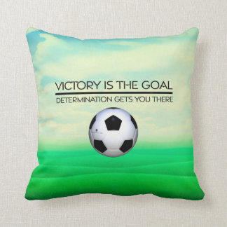 TOP Soccer Victory Slogan Throw Pillow
