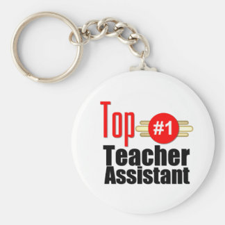Top Teacher Assistant Basic Round Button Key Ring