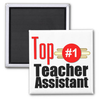 Top Teacher Assistant Square Magnet