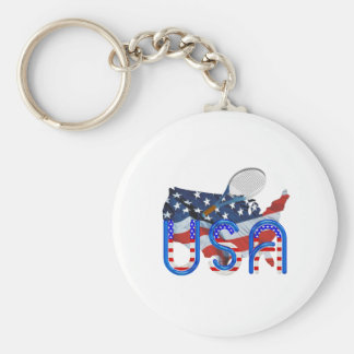 TOP Tennis in the USA Basic Round Button Key Ring