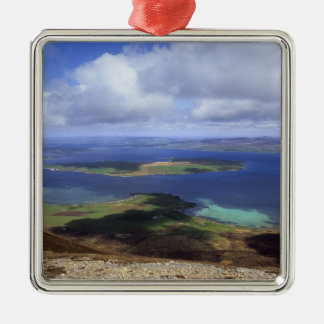 Top view: burra sound, graemsay & orkney mainland Silver-Colored square decoration