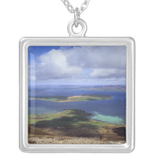 Top view: burra sound, graemsay & orkney mainland silver plated necklace