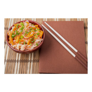 Top view of an Asian bowl of rice noodle Poster