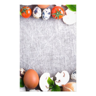 Top view of the food ingredients in the form stationery