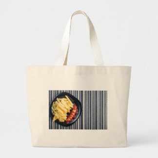 Top view of the Russian national dish Large Tote Bag