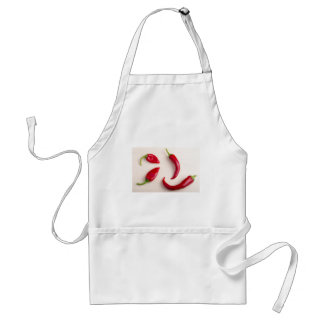 Top view on a hot red chili peppers standard apron