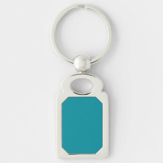 Topaz Blue Personalized Aqua Teal Color Background Silver-Colored Rectangle Key Ring