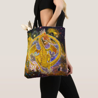 Topaz Cosmic Dragon Tote Bag