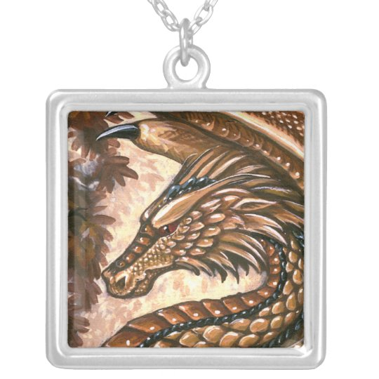 Topaz Dragon Square Necklace