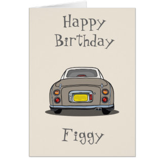 Topaz Mist Nissan Figaro Car Happy Birthday Card