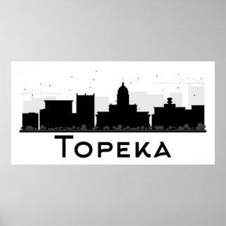 Topeka, Kansas   Black & White City Skyline Poster