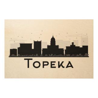 Topeka, Kansas | Black & White City Skyline Wood Canvases