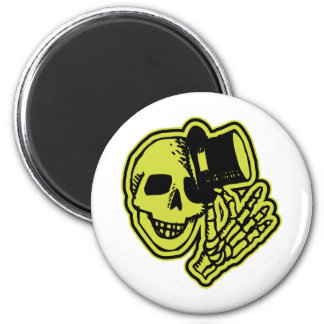 Tophat Skull Yellow 6 Cm Round Magnet