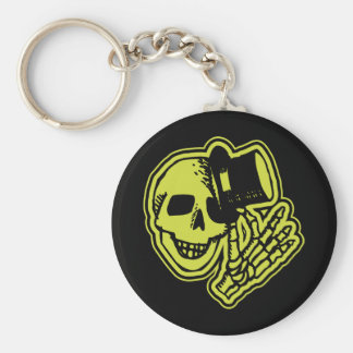 Tophat Skull Yellow Basic Round Button Key Ring