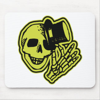 Tophat Skull Yellow Mouse Pads