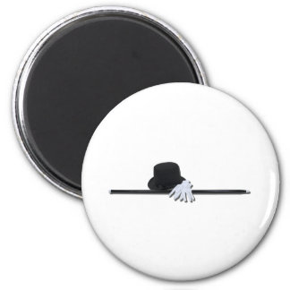 TopHatBlackCaneWhiteGloves073011 6 Cm Round Magnet