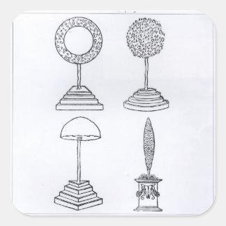 Topiary designs, from 'Hypnerotomachia Poliphili', Square Sticker