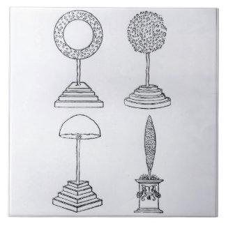Topiary designs, from 'Hypnerotomachia Poliphili', Tile