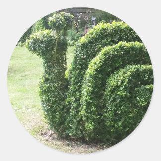 Topiary green garden snail ornamental bush classic round sticker