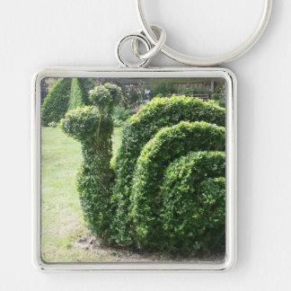 Topiary ornamental bush garden snail key ring