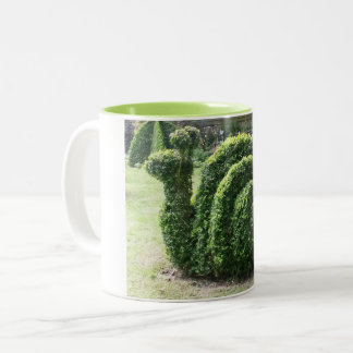 Topiary snail green garden ornamental bush Two-Tone coffee mug