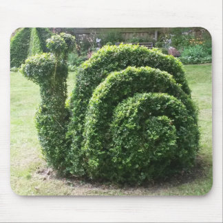 Topiary snail green happy gardening mouse mat