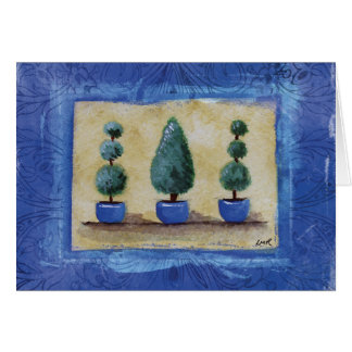 Topiary Trees with Blue Border Card
