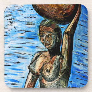 Topless African Woman Carrying Basket on Head Beverage Coasters