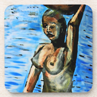 Topless African Woman Carrying Basket, Surreal (2) Beverage Coasters