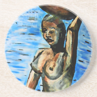 Topless African Woman Carrying Basket, Surreal (2) Sandstone Coaster